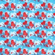 Seamless pattern with swallows and hearts on sky background with — Stockvektor #39853115