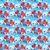 Seamless pattern with swallows and hearts on sky background with — Stock vektor