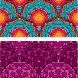 Set of 2 colorful seamless patterns with round ornaments, kaleid — Stok Vektör