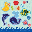 Set of buttons, cartoon animals and word SEA - hand made cutout — Stok Vektör