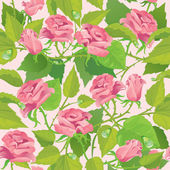 Floral seamless pattern with blooming pink roses — Stock Vector