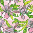 Vector de stock : Floral Seamless Pattern with hand drawn flowers - orchids on pin