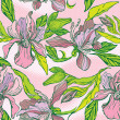图库矢量图片: Floral Seamless Pattern with hand drawn flowers - orchids on pin