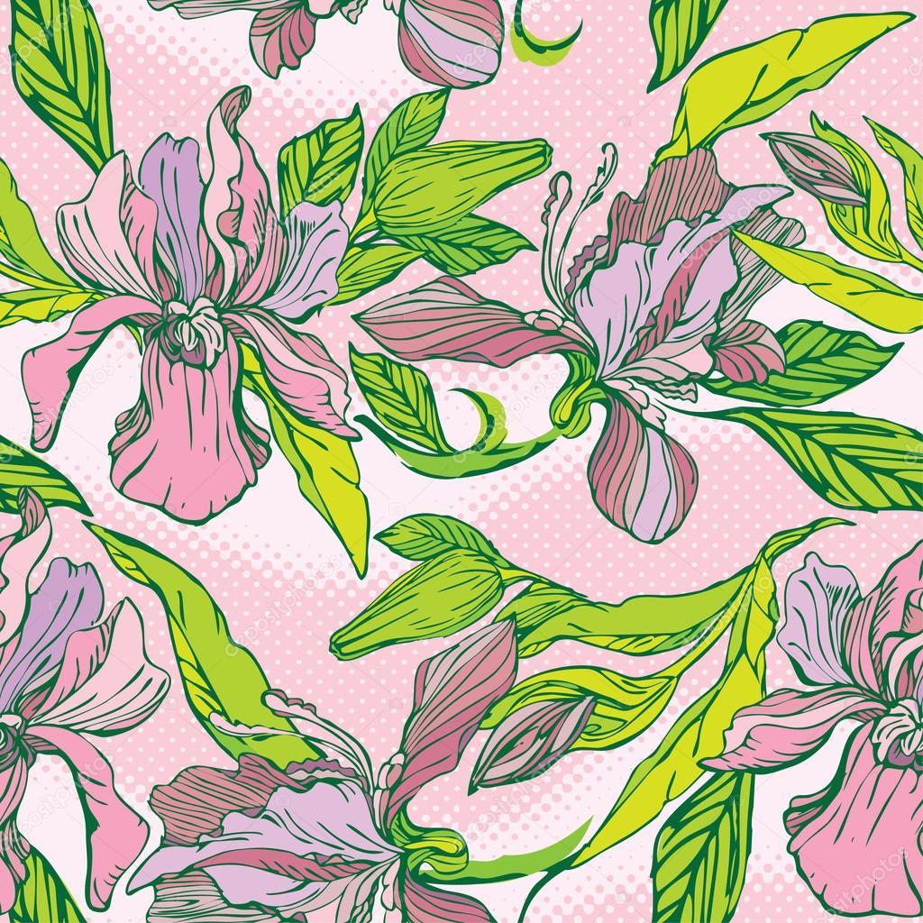 floral pattern sans couture avec main dessinée fleurs - orchidées