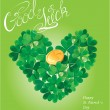 Holiday card with calligraphic words Good Luck and Shamrock hear — Stock Vector