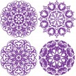 Stock Vector: Set of 4 one color round ornaments, Lace floral patterns