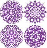 Set of 4 one color round ornaments, Lace floral patterns — Stock Vector