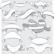 Medieval abstract ribbons, crolls, banners - set for heraldry de — Stock Vector
