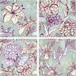 Stock Vector: Set of 4 Floral Seamless Patterns with hand drawn flowers - tige