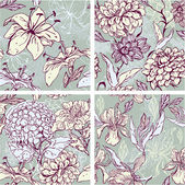 Set of 4 Floral Seamless Patterns with hand drawn flowers - tige — Vector de stock
