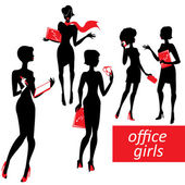 Set of fashionable business girls silhouettes on a white backgro — Stock Vector