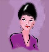 Retro elegant woman portrait in pop art style — Stock Vector