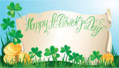 Holiday card with calligraphic words Happy St. Patricks Day. Ol — Stok Vektör