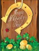 Holiday card with calligraphic words Happy St. Patricks Day. Sh — Stock Vector
