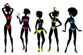 Set of Woman silhouettes in different colors bikini swimwear iso — Stock Vector