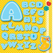 Chidish alphabet - letters are made of blue lace and ribbons on  — Stock Vector