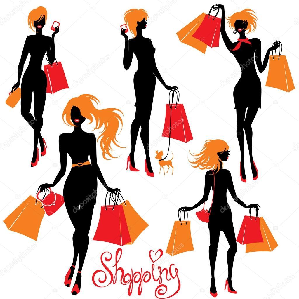 购物孤立的白色背景上的女人剪影一套