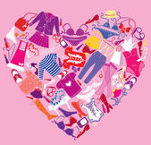 I Love Shopping image, the heart is made of different female fas — Stock Vector