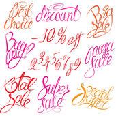 Set of hand written words Buy now, Best choice, discount, big, — Vettoriale Stock