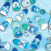 Seamless pattern - children gumshoes on blue background - design — Stock Vector