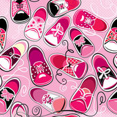 Seamless pattern - children gumshoes on pink background - design — Stock Vector