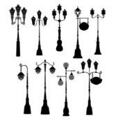 Set of retro street lanterns silhouettes  — Stock Vector