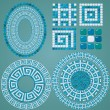 Set of Mosaic patterns - Blue ceramic oval and round frames - cl — Stock Vector