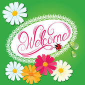 "Calligraphic handwritten sign ""Welcome""  in oval lace frame with — Stock Vector"