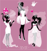 Set of girls silhouettes dressing Wedding gown, shoes and bridal — Stock Vector