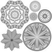 Set of Vintage backgrounds, Guilloche ornamental Element for Cer — Stock Vector