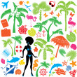 Set of summer, travel and vacations symbols - silhouettes of wom — Stock Vector
