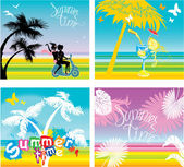 Set of summer, travel and vacations pictures - silhouettes of gi — Vector de stock