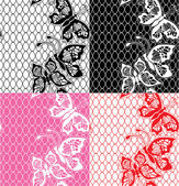 Set of Lace seamless patterns with butterflies - fabric design — Stock Vector