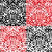 Set of Lace seamless patterns with flowers - fabric design — Stock Vector