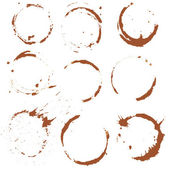 Set of  Coffee Stain, Isolated On White Background. Each one is — Vettoriale Stock