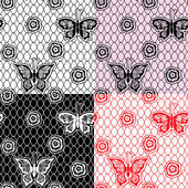 Set of Lace seamless patterns with butterflies - fabric design — Vetorial Stock