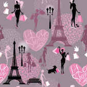 Seamless pattern - Effel Tower, hearts with calligraphic text I  — Stock Vector