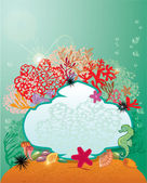Frame and Coral Reef and Marine life - Underwater background. — Stock Vector