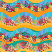 Seamless pattern with Coral Reef and Marine life - Underwater ba — Stock Vector