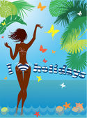 Woman silhouette in bikini swimwear at tropical beach with palm  — Vector de stock