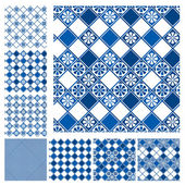 Set of seamless patterns - blue  ceramic tiles with floral ornam — Stock Vector
