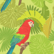 Seamless pattern with palm trees leaves and Red Blue Macaw parro — Stock Vector