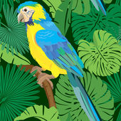 Seamless pattern with palm trees leaves and Blue Yellow  Macaw p — Stock Vector