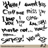 Set of Hand written short phrases HELLO, KISS ME, I LOVE YOU, SU — Stock Vector
