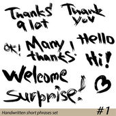 Set of Hand written short phrases HELLO, THANK YOU, WELCOME, etc — Stock Vector