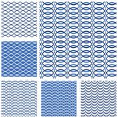 Set of seamless patterns - blue waves and grids. — Stock Vector