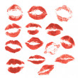 Set of beautiful red lips print on isolated white background — Stockvector