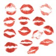 Set of beautiful red lips print on isolated white background — 图库矢量图片