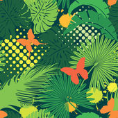 Seamless pattern with palm trees leaves and butterflies. Ready t — Stock Vector