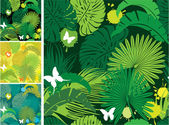 Set of seamless patterns with palm trees leaves and butterflies. — Stock Vector